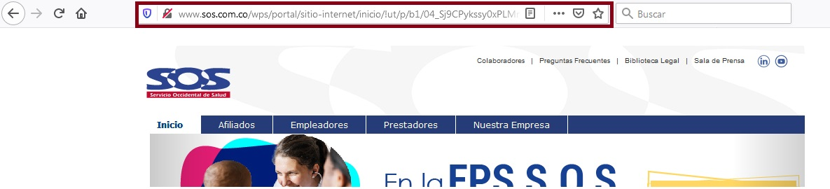 FIGURA 1. Portal online SOS Comfandi