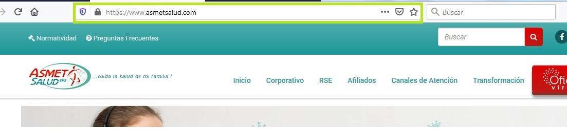 FIGURA 1. Portal online ASMET Salud