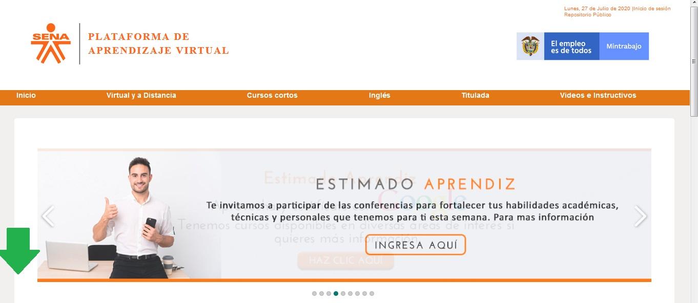 FIGURA 4. Sección Plataforma de Aprendizaje Virtual