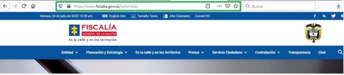 FIGURA 1. Portal oficial online de la Fiscalía general de la Nación Colombiana