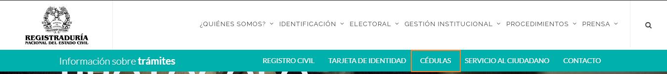 Figura 1. Portal web de la registraduria del gobierno de Colombia/cedulas
