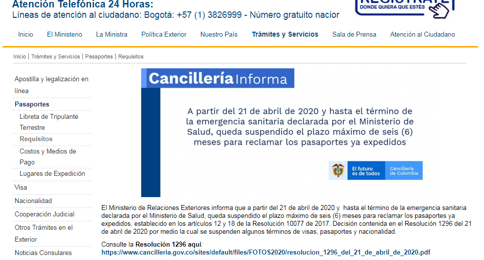 FIGURA 1. Portal web de la cancillería de Colombia