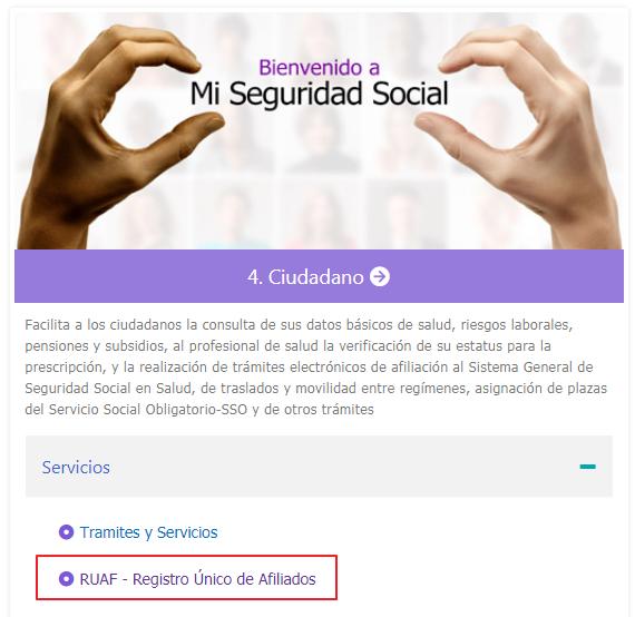 Figura 1. Seleccionar Registro único de afiliados