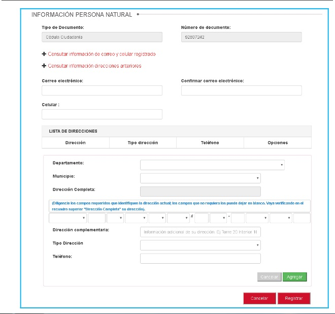 FIGURA 4. Planilla de actualización de datos en RUNT