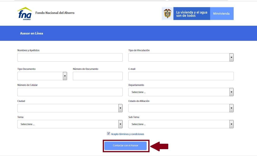 FIGURA 7. Sección Asesoría en línea