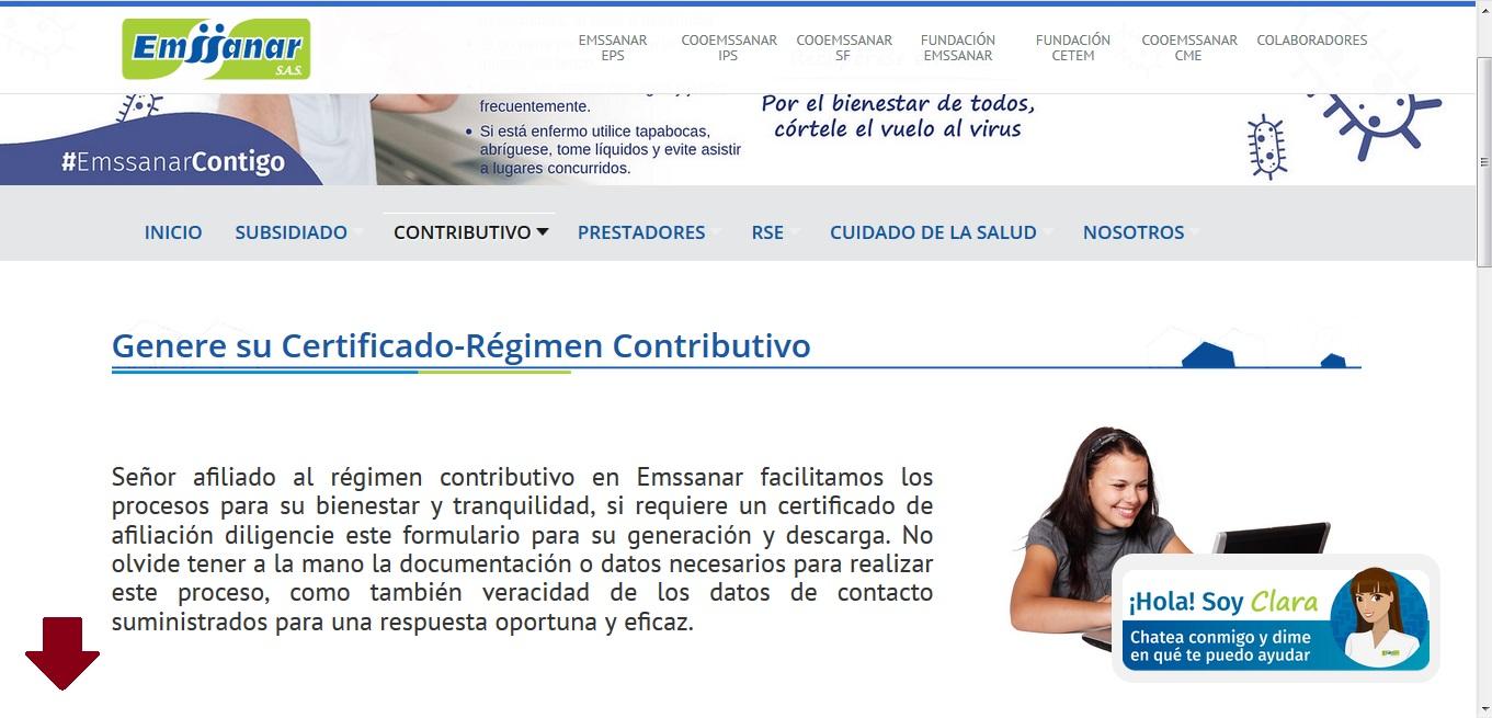 FIGURA 12. Sección Genere su Certificado Régimen Contributivo