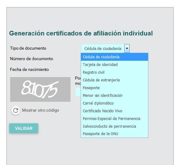FIGURA 7. Sección Genere certificados de Afiliación Individual