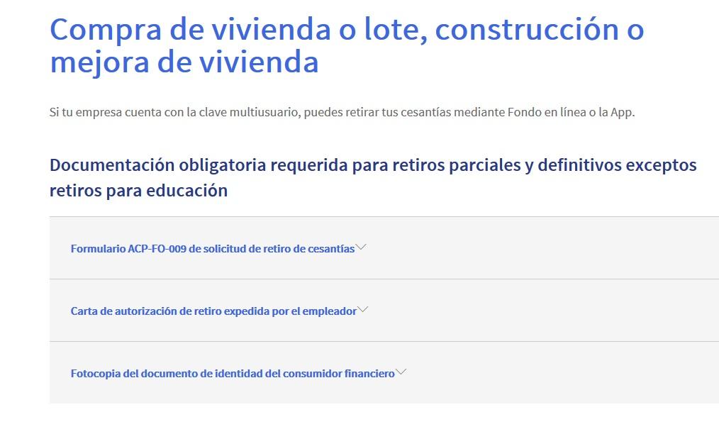 FIGURA 6. Sección Compra de vivienda o lote, construcción o mejora de vivienda