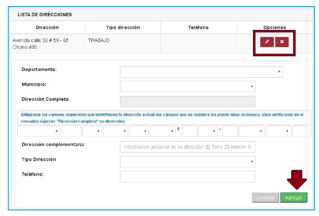 FIGURA 5. Opción Editar o eliminar y agregar.