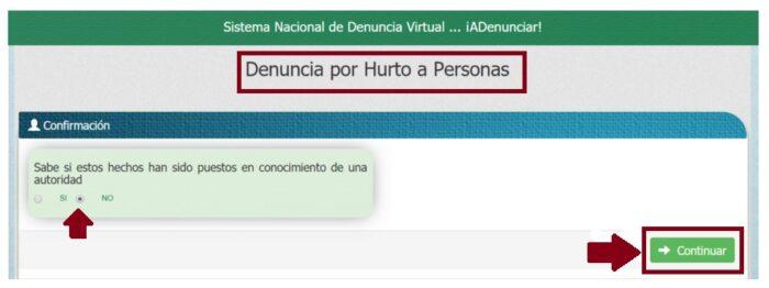 FIGURA 7. Cuadro Confirmación Denuncia Virtual