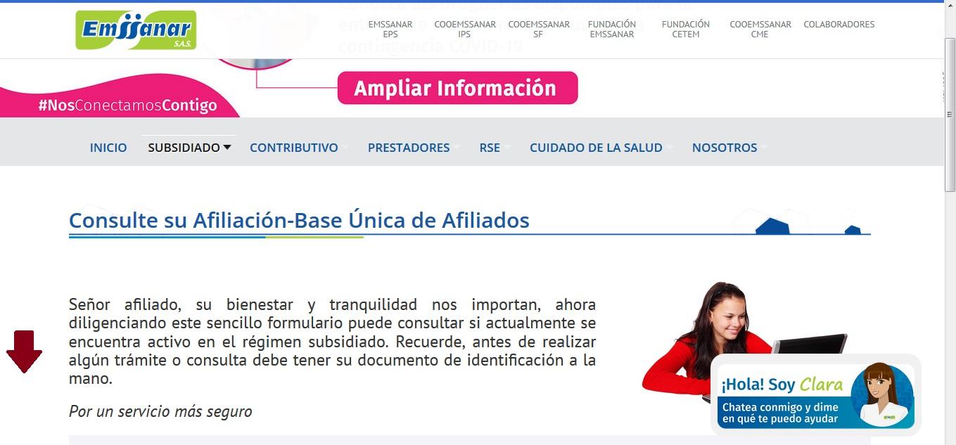 FIGURA 6. Sección Consulte su afiliación- Base Única de Afiliados