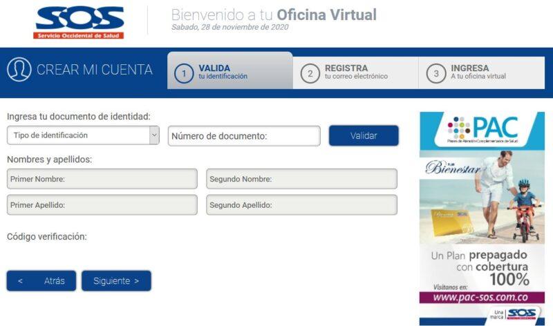 Registra online - Oficina Virtual SOS